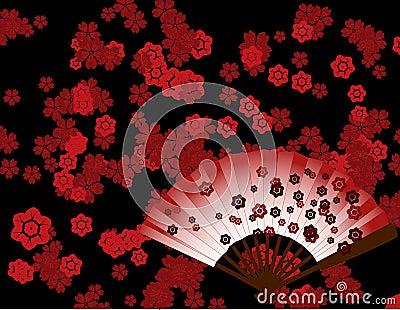 papier peint japonais de fleur avec la fan illustration de vecteur image 41983985. Black Bedroom Furniture Sets. Home Design Ideas