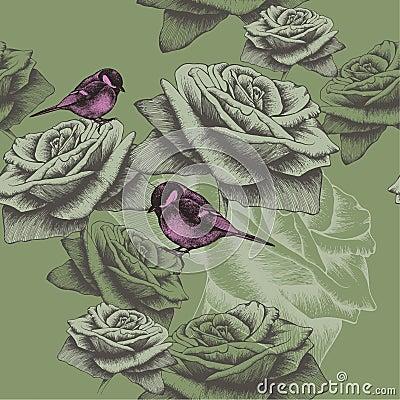 papier peint sans couture avec des fleurs et des oiseaux main dessin vecteur illustration de. Black Bedroom Furniture Sets. Home Design Ideas