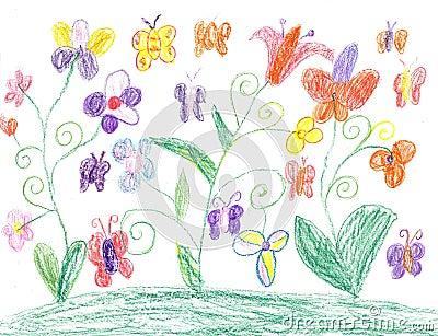Papillon de dessin d 39 enfant et nature de fleurs illustration stock image 52589092 - Initiatives fleurs et nature ...