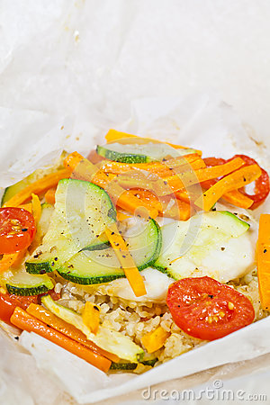 Papillote - hake fish prepared in parchment paper