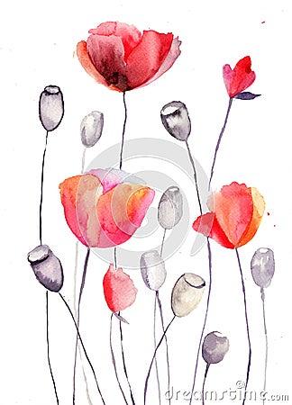 A papoila estilizado floresce a ilustração