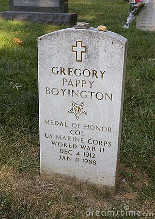 Pappy Boyingtons grave Editorial Photo