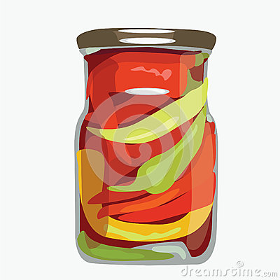 Paprika in glass bank