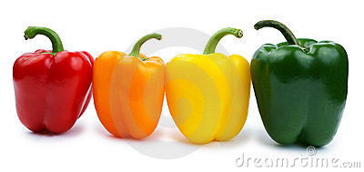 Paprika (pepper bell), red, orange, yellow, green