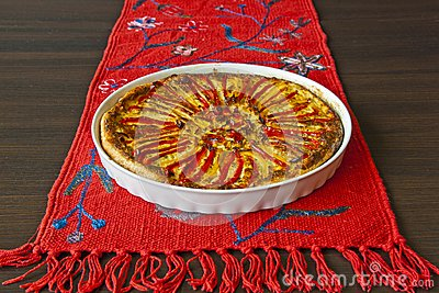 Paprika pie on the red linen