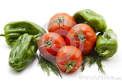 Paprika and tomatoes with dill