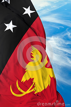 Free Papua New Guinea Waving Flag On A Beautiful Day Royalty Free Stock Photography - 55814827