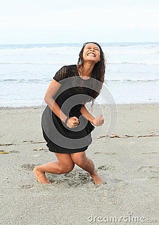 Free Papuan Girl Yelling On Beach Stock Photo - 67924990