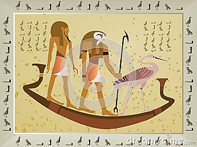 Papyrus met elementen van Egyptische oude geschiedenis