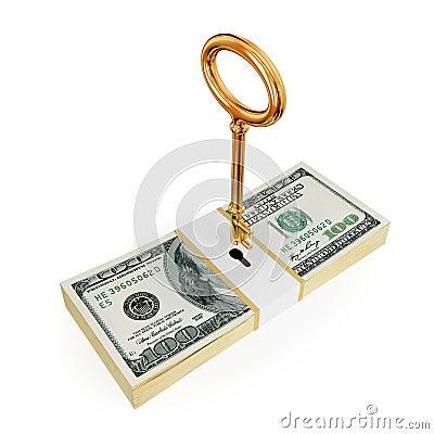 Paquete del dólar con clave de oro arriba.
