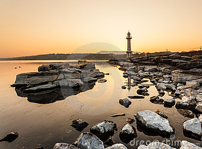 Paquis Lighthouse at Sunrise, Geneva