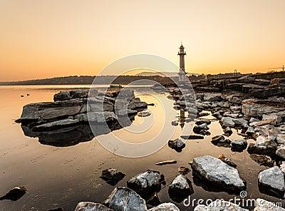 Paquis Lighthouse at Sunrise, Geneva