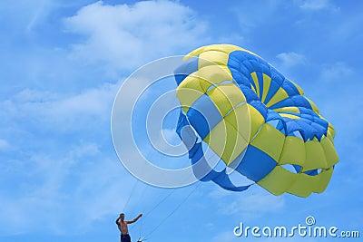 Parachute against the sky