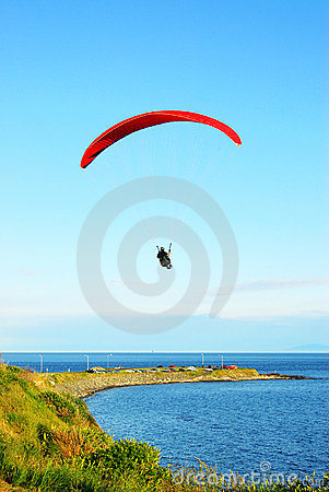 Parachute flying above the sea