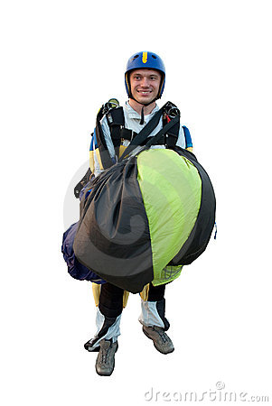 Parachute jumper isolated on white