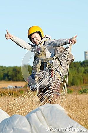 Parachute jumper after landing