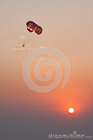 Parachute on sunset