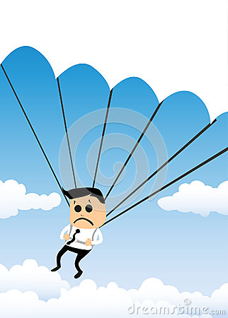 Parachuting Businessman