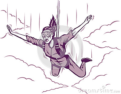 Parachuting girl