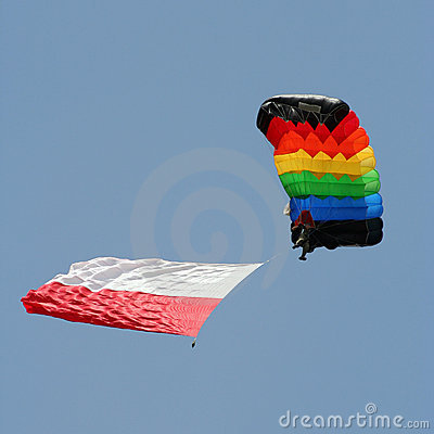 Parachutist with a colourful parachute