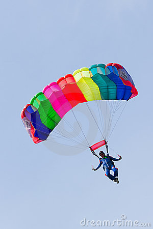 Free Parachutist Demonstrate Jumping From Airplane Stock Photos - 21274903