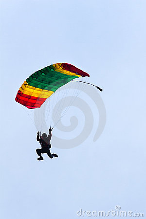 Free Parachutist Demonstrates Jumping From Airplane Royalty Free Stock Photos - 20732038