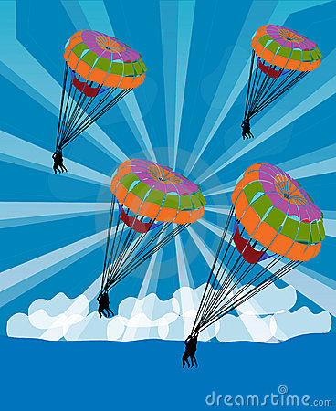 Parachutist glide in the sky