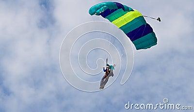 Parachutist in midair