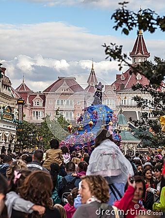 Parade of Cartoon Characters in Disneyland Editorial Photo