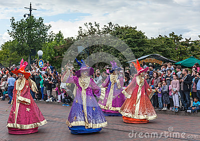 Parade of Cartoon Characters in Disneyland Editorial Photography