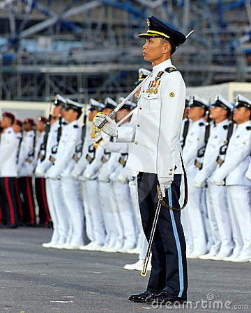 Parade Commander standing at attention during NDP Editorial Image