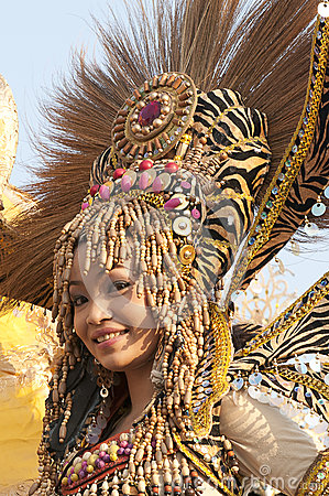 Parade girl with headdress Editorial Photography