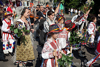 Parade of Latvian Youth Song and Dance festival Editorial Stock Image