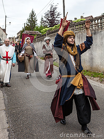 Parade of Medieval Characters Editorial Stock Image