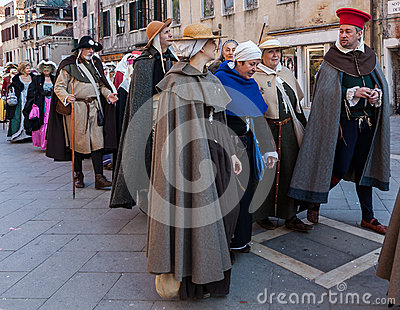 Parade of Medieval Costumes Editorial Stock Photo
