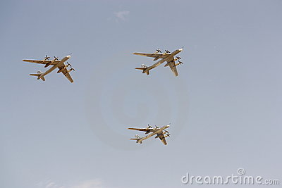 Parade of military aircraft in Moscow May, 9 2010 Editorial Photography