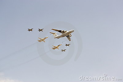 Parade of military aircraft in Moscow May, 9 2010 Editorial Stock Image