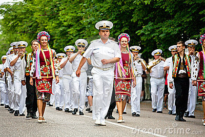 Parade of military orchestras Editorial Photography