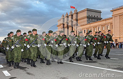 Parade rehearsal before the Day of Victory in the Great Patriotic War Editorial Photography