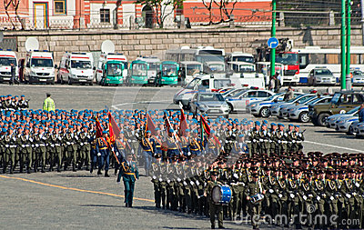 Parade rehearsal: infantry and paratroopers Editorial Stock Image