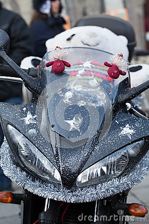 The parade of Santa Clauses on motorcycles around the Main Market Square in Cracow Editorial Stock Photo