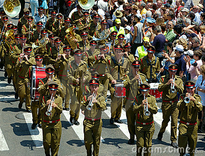 The parade of soldiery brass bands Editorial Stock Photo