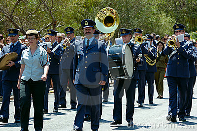 The parade of soldiery brass bands Editorial Photo