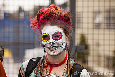 Parade Spectator With Face Paint Editorial Image