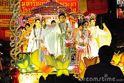 Parade of villager in chinese new year celebration Editorial Image