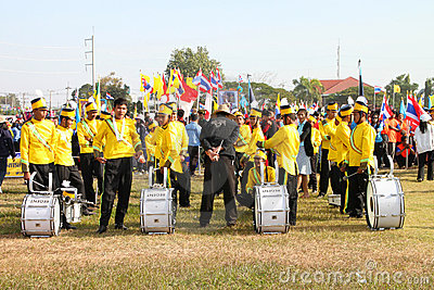 Paraders in local sports festival season Editorial Stock Image