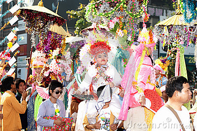 Parades of Poy-Sang-Long Festival in Northern of Thailand. Editorial Photo