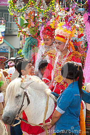 Parades of Poy-Sang-Long Festival in Northern of Thailand. Editorial Image