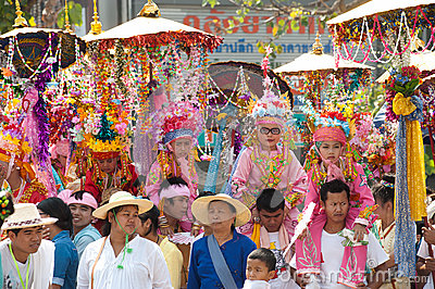 Parades of Poy-Sang-Long Festival in Northern of Thailand. Editorial Stock Photo