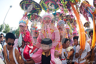 Parades of Poy-Sang-Long Festival in Northern of Thailand. Editorial Photography